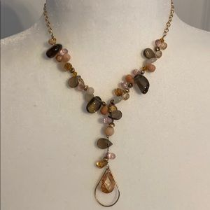 Pretty crystal and stone lariat necklace